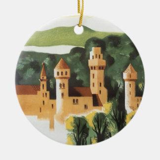 Vintage Reise, deutsches Schloss, Bayern Rundes Keramik Ornament