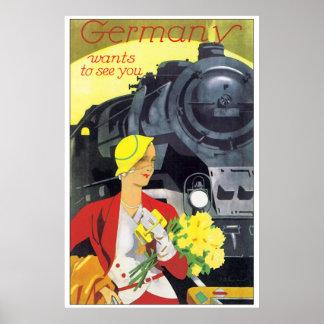 Vintage Reise Deutschland durch Zug-Anzeige Poster