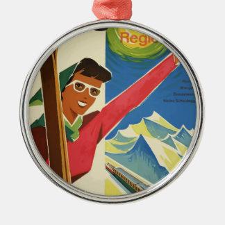 Vintage Reise die Schweiz Jungfrau Silbernes Ornament