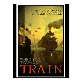 Vintage Reise durch Zug Postkarten