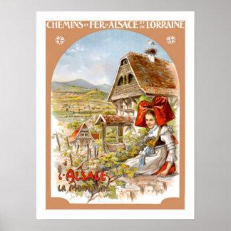Vintage Reise Elsass Frankreich Poster