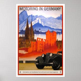 Vintage Reise, fahrend in Deutschland Plakatdruck