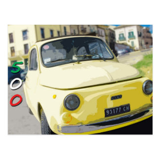 Vintage Reise Fiat 500 Cinquecento, Italien, gelb Postkarte