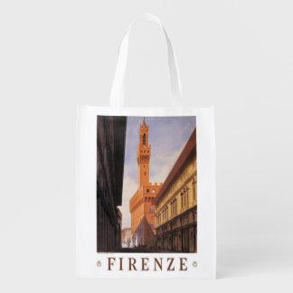 Vintage Reise, Firenze, Florenz, Palazzo Vecchio Wiederverwendbare Tragetasche