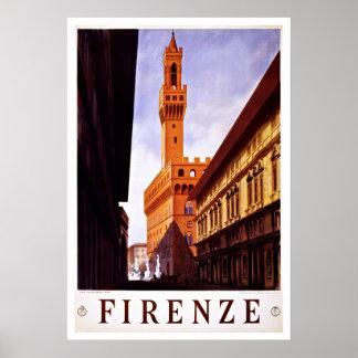Vintage Reise Firenze Italien Palazzo Vecchio Poster