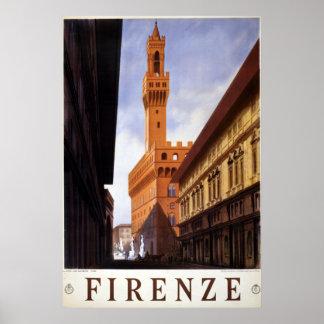 Vintage Reise Firenze Italien Poster