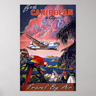 Vintage Reise-Fliege zu Karibischen Meeren auf dem Poster