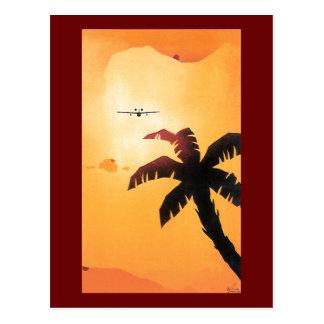 Vintage Reise, Flugzeug über hawaiischen Inseln Postkarte