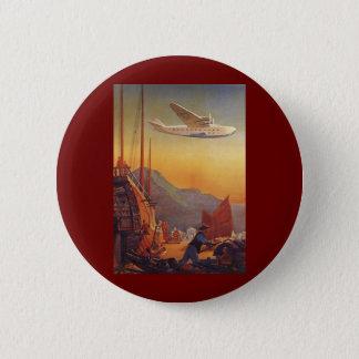 Vintage Reise, Flugzeug über Kram in Hong Kong Runder Button 5,7 Cm
