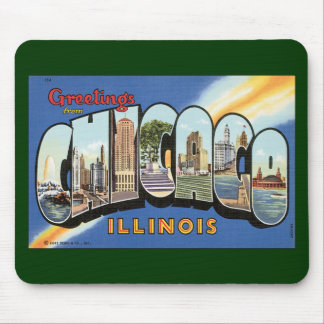 Vintage Reise, Grüße von Chicago Illinois Mauspads