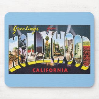 Vintage Reise-Grüße von Hollywood Kalifornien Mousepads