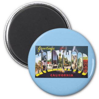 Vintage Reise-Grüße von Hollywood Kalifornien Runder Magnet 5,1 Cm