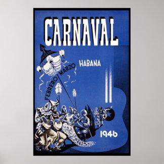 Vintage Reise Havana-Karnevals-1946 Poster