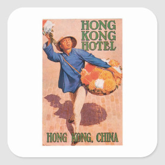Vintage Reise-Hong- Quadrataufkleber