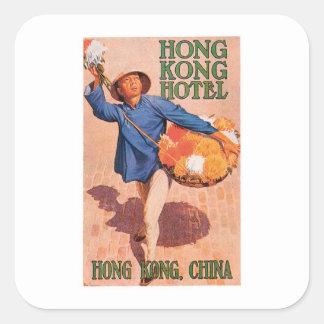 Vintage Reise-Hong- Quadrat-Aufkleber
