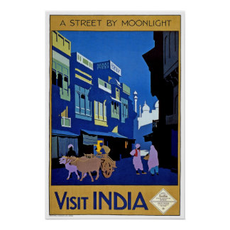 Vintage Reise, Indien Poster
