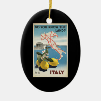 Vintage Reise-Italien-Karte mit Zitronen Keramik Ornament