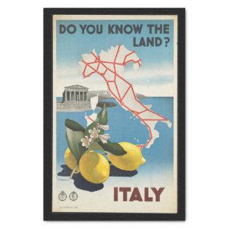 Vintage Reise-Italien-Karte mit Zitronen Seidenpapier