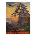 Vintage Reise Japan, japanisches Pagoden-Flugzeug Postkarten
