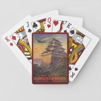 Vintage Reise Japan, japanisches Pagoden-Flugzeug Spielkarten