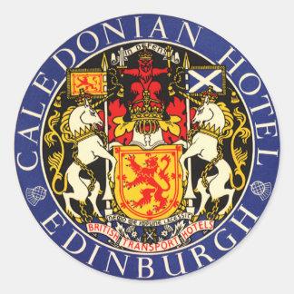 Vintage Reise-kaledonisches Hotel Edinburgh Runder Sticker