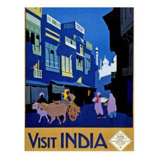 Vintage Reise-Kunst Besuchs-Indiens Postkarte