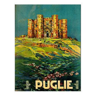 Vintage Reise-Kunst Castle Del Monte Puglie Postkarte