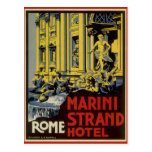 Vintage Reise, Marini Strang-Hotel, Rom, Italien Postkarte