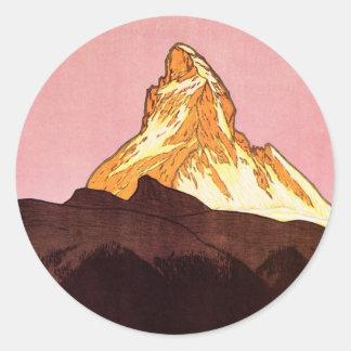 Vintage Reise, Matterhorn-Berg, die Schweiz Runder Aufkleber