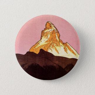 Vintage Reise, Matterhorn-Berg, die Schweiz Runder Button 5,7 Cm