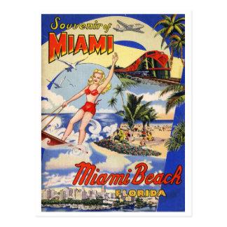 Vintage Reise Miami Beach Florida Postkarte