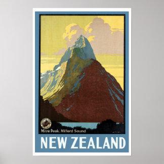 Vintage Reise Milford Sound Neuseeland Poster