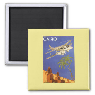 Vintage Reise nach Kairo, Eygpt, Quadratischer Magnet