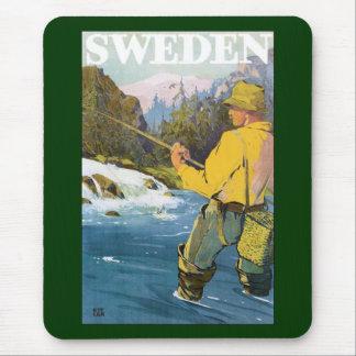 Vintage Reise nach Schweden, Fischer-Sport-Fischen Mousepad
