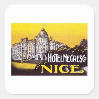 Vintage Reise-Nizza Quadratischer Aufkleber
