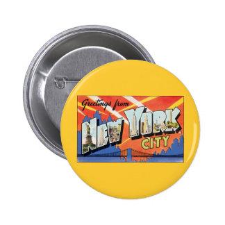Vintage Reise NYC, Grüße von New York City Runder Button 5,7 Cm