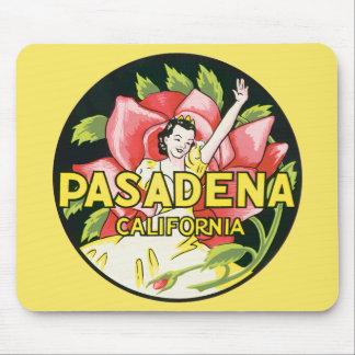 Vintage Reise, Pasadena Kalifornien, Dame und Rose Mauspads
