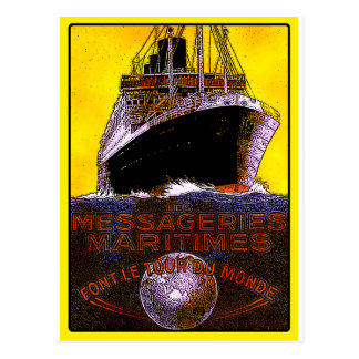 Vintage Reise-Plakate: Weltausflug-Ozeandampfer Postkarte