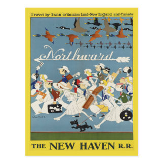 Vintage Reise-Postkarte für Neu-England und Kanada Postkarte