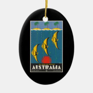 Vintage Reise-Riff-Fische Queensland Australien Ovales Keramik Ornament