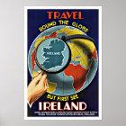 Vintage Reise ringsum die Kugel sehen Irland Poster