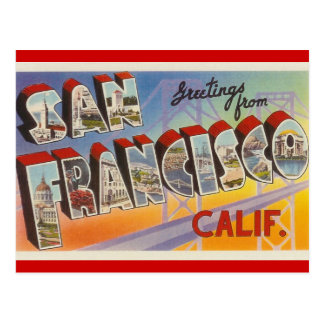 Vintage Reise San Francisco Postkarten