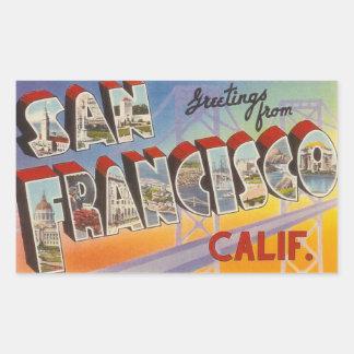 Vintage Reise San Francisco Rechteckiger Aufkleber