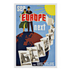 Vintage Reise sehen Europa Poster