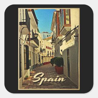 Vintage Reise Spaniens Quadrataufkleber