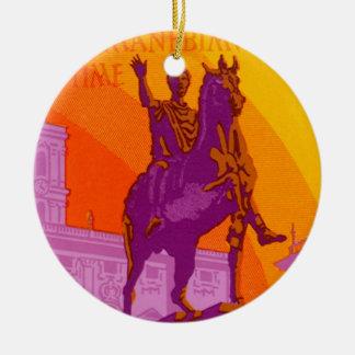 Vintage Reise, Statue Le Grand Hotel Rom Italien Rundes Keramik Ornament