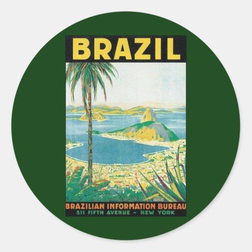 Vintage Reise-Strand-Küste, Rio de Janeiro Brasili Runde Sticker