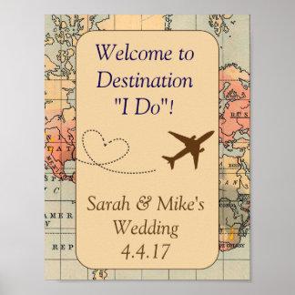 Vintage Reise Themed Dekoration-Hochzeit Zeichen Poster