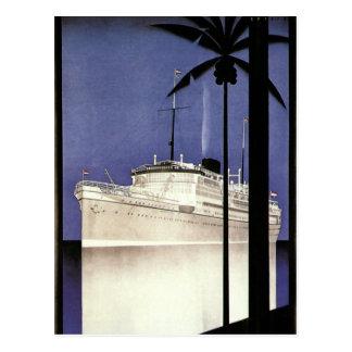 Vintage Reise-tropische Kreuzfahrt-Schiffs-und Postkarte