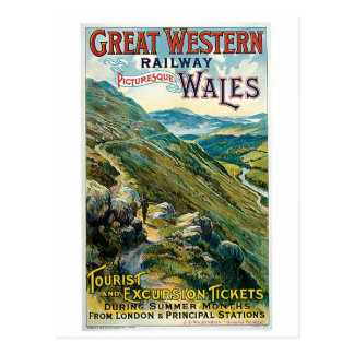 Vintage Reise zu Wales-Anzeige Postkarte